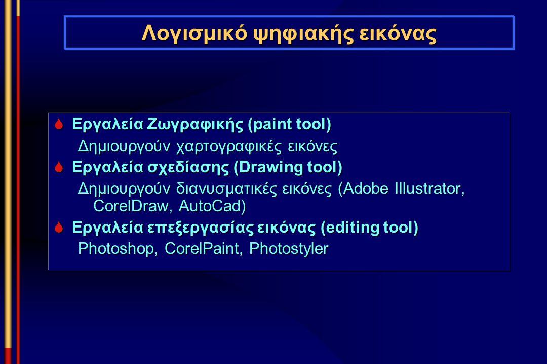 Λογισμικό ψηφιακής εικόνας  Εργαλεία Ζωγραφικής (paint tool) Δημιουργούν χαρτογραφικές εικόνες  Εργαλεία σχεδίασης (Drawing tool) Δημιουργούν διανυσ