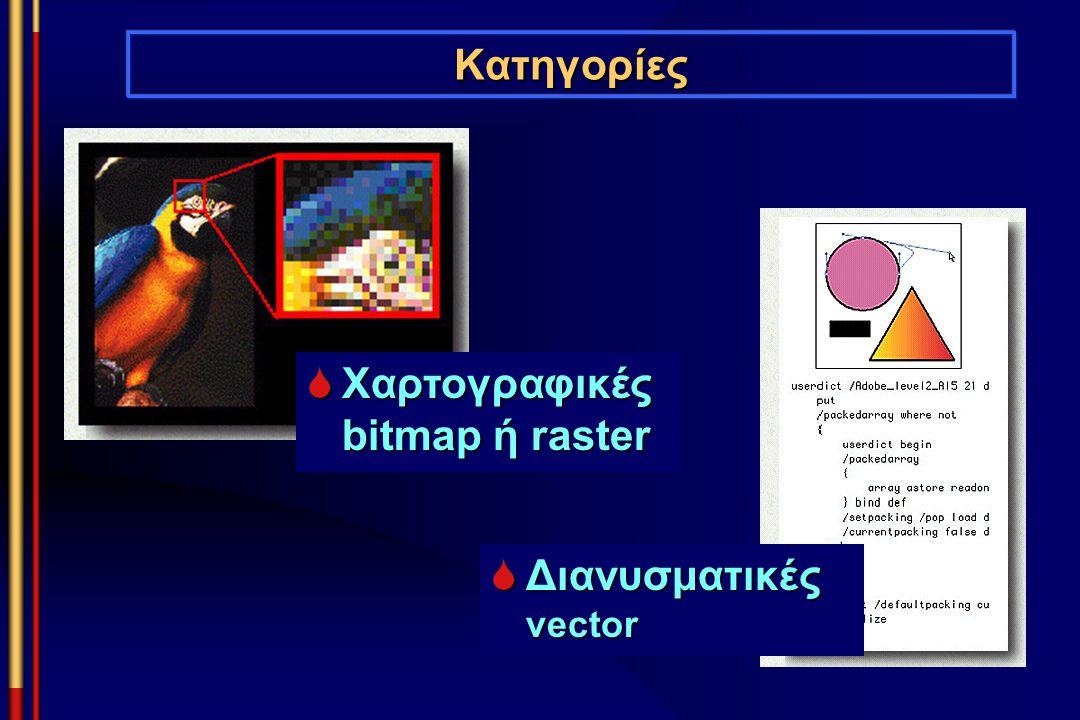 Κατηγορίες  Διανυσματικές vector  Χαρτογραφικές bitmap ή raster