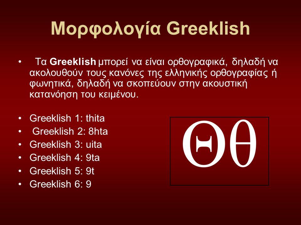 Μορφολογία Greeklish Τα Greeklish μπορεί να είναι ορθογραφικά, δηλαδή να ακολουθούν τους κανόνες της ελληνικής ορθογραφίας ή φωνητικά, δηλαδή να σκοπε