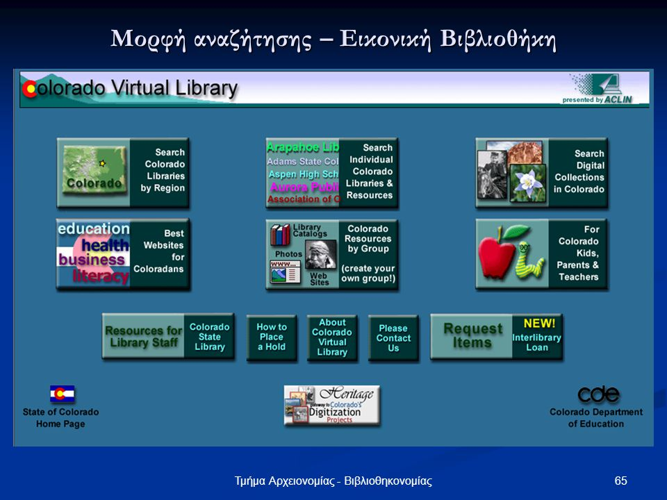 65Τμήμα Αρχειονομίας - Βιβλιοθηκονομίας Μορφή αναζήτησης – Εικονική Βιβλιοθήκη