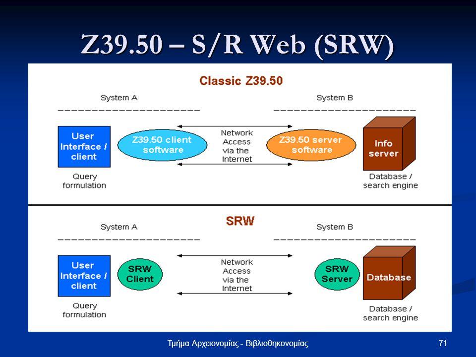 71Τμήμα Αρχειονομίας - Βιβλιοθηκονομίας Ζ39.50 – S/R Web (SRW)