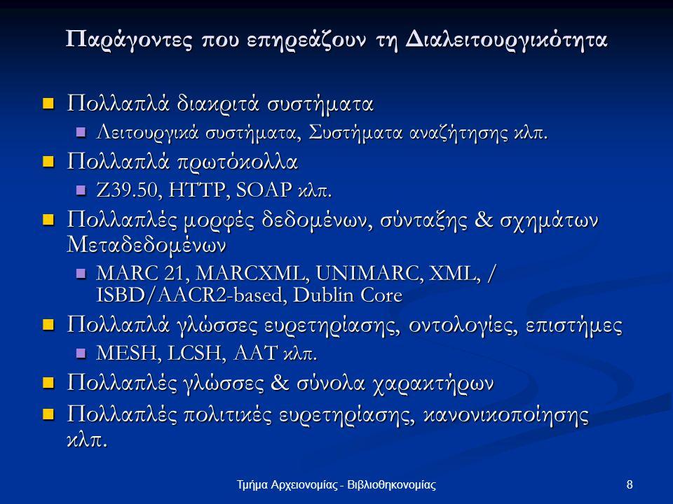 29Τμήμα Αρχειονομίας - Βιβλιοθηκονομίας Χρήσιμες Διαχειριστικές Επισημάνσεις (4) Σε ποιο λειτουργικό σύστημα λειτουργεί.