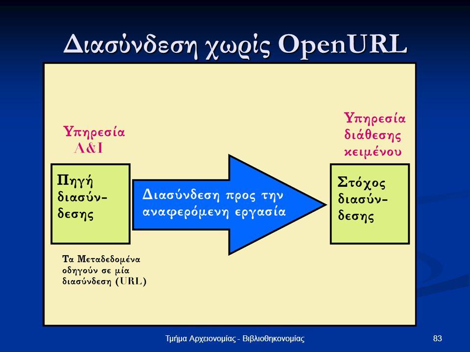 83Τμήμα Αρχειονομίας - Βιβλιοθηκονομίας Διασύνδεση χωρίς OpenURL
