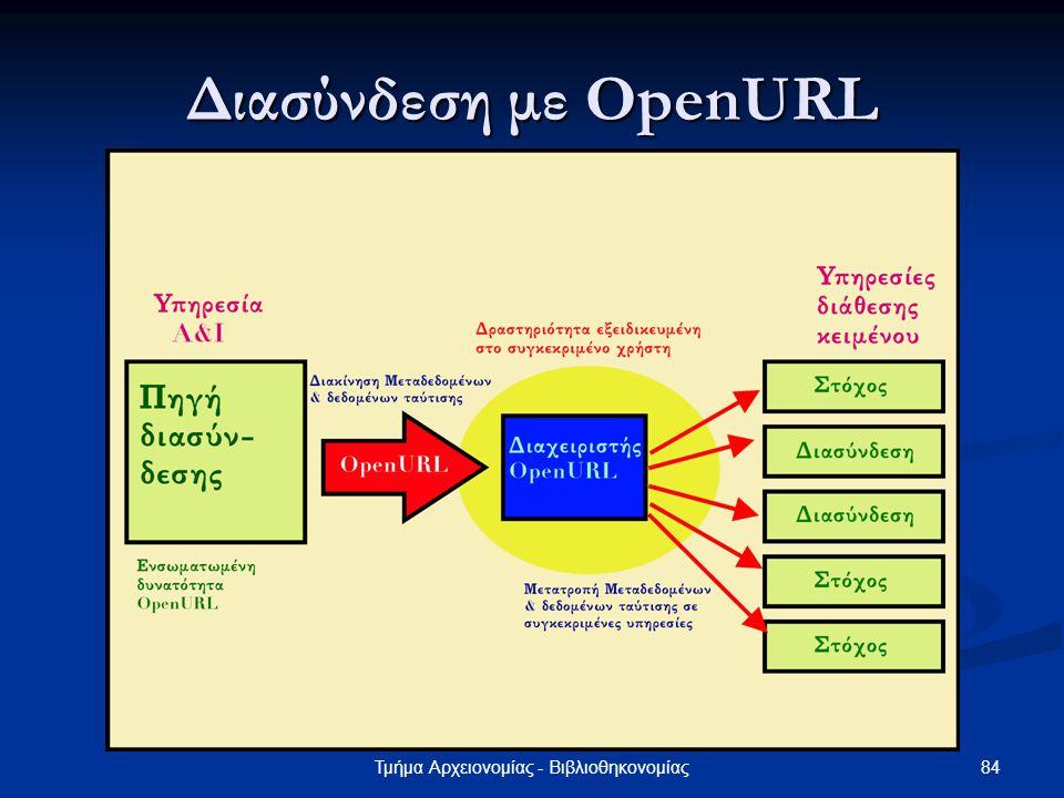 84Τμήμα Αρχειονομίας - Βιβλιοθηκονομίας Διασύνδεση με OpenURL