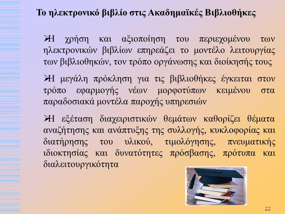 22 Το ηλεκτρονικό βιβλίο στις Ακαδημαϊκές Βιβλιοθήκες  Η χρήση και αξιοποίηση του περιεχομένου των ηλεκτρονικών βιβλίων επηρεάζει το μοντέλο λειτουργ