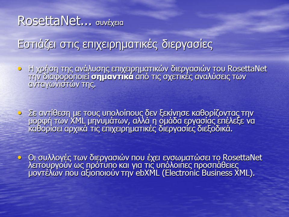 RosettaNet... συνέχεια Εστιάζει στις επιχειρηματικές διεργασίες Η χρήση της ανάλυσης επιχειρηματικών διεργασιών του RosettaNet την διαφοροποιεί σημαντ