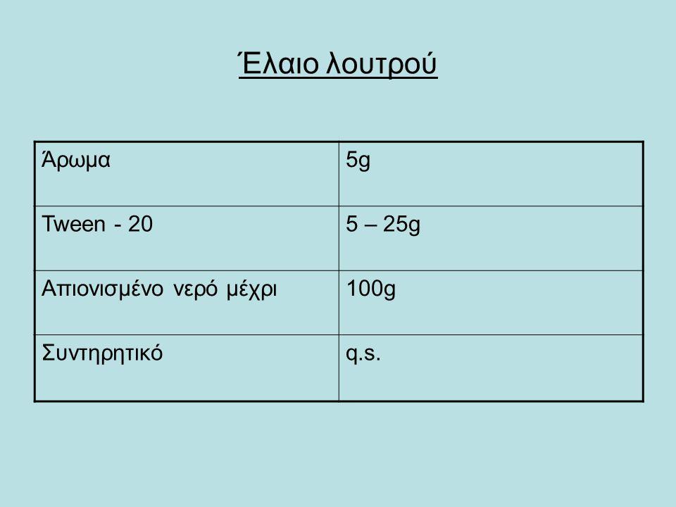 Έλαιο λουτρού Άρωμα5g5g Tween - 205 – 25g Απιονισμένο νερό μέχρι100g Συντηρητικόq.s.