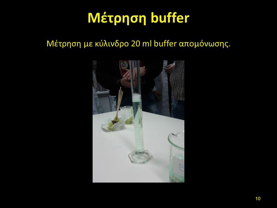 Μέτρηση buffer Μέτρηση με κύλινδρο 20 ml buffer απομόνωσης. 10