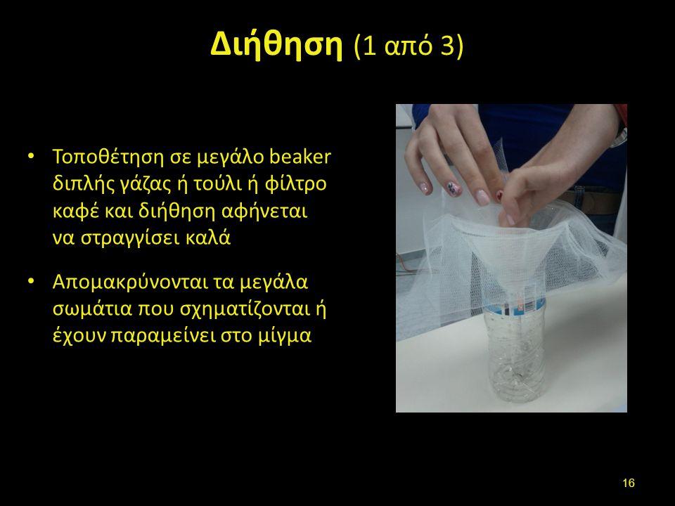 Διήθηση (1 από 3) Τοποθέτηση σε μεγάλο beaker διπλής γάζας ή τούλι ή φίλτρο καφέ και διήθηση αφήνεται να στραγγίσει καλά Απομακρύνονται τα μεγάλα σωμά