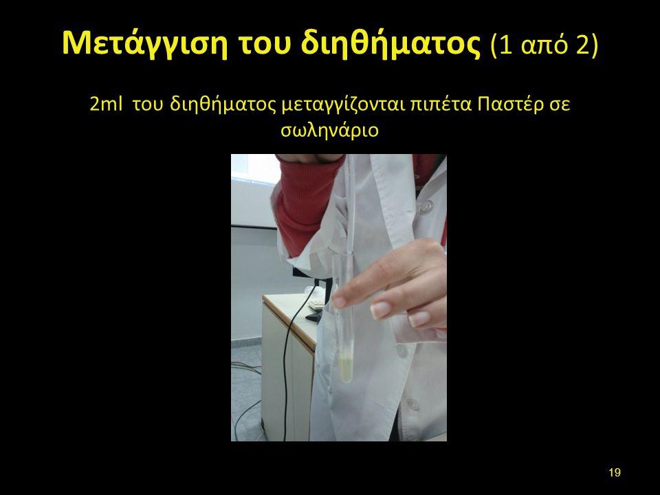 Μετάγγιση του διηθήματος (1 από 2) 2ml του διηθήματος μεταγγίζονται πιπέτα Παστέρ σε σωληνάριο 19