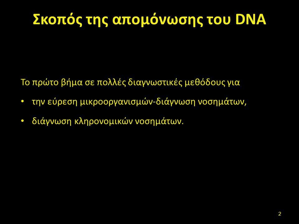 Σκοπός της απομόνωσης του DNA Το πρώτο βήμα σε πολλές διαγνωστικές μεθόδους για την εύρεση μικροοργανισμών-διάγνωση νοσημάτων, διάγνωση κληρονομικών ν
