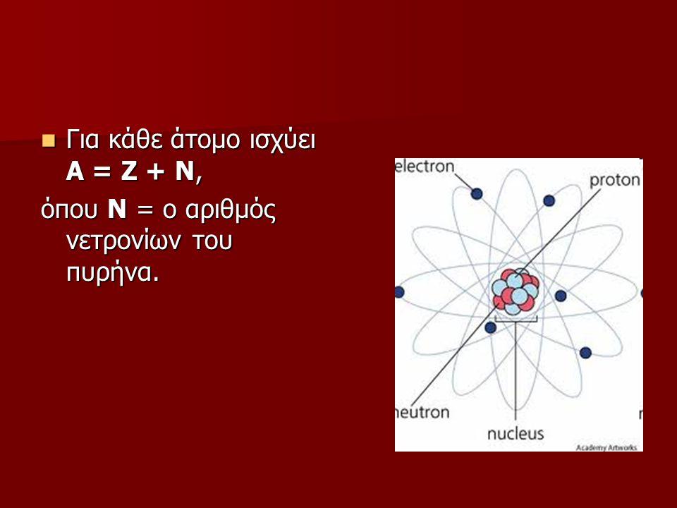 Για κάθε άτομο ισχύει Α = Ζ + Ν, Για κάθε άτομο ισχύει Α = Ζ + Ν, όπου Ν = ο αριθμός νετρονίων του πυρήνα.