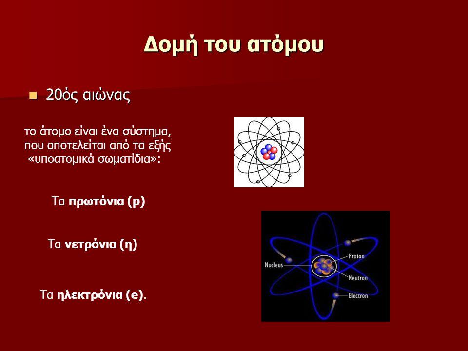 Δομή του ατόμου 20ός αιώνας 20ός αιώνας το άτομο είναι ένα σύστημα, που αποτελείται από τα εξής «υποατομικά σωματίδια»: Τα πρωτόνια (p) Τα νετρόνια (η