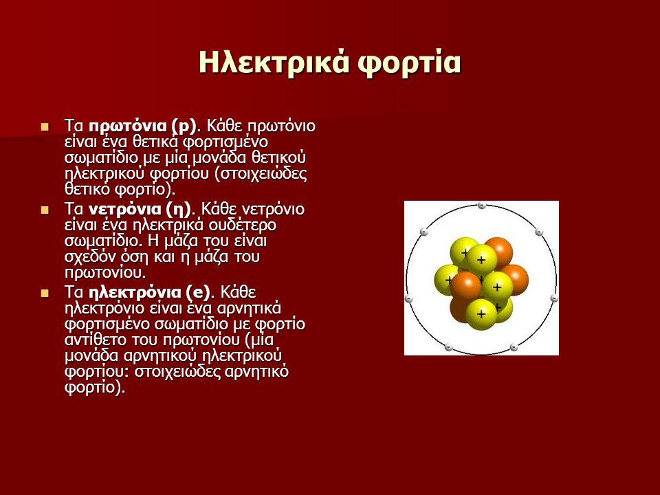 Τα πρωτόνια (p). Κάθε πρωτόνιο είναι ένα θετικά φορτισμένο σωματίδιο με μία μονάδα θετικού ηλεκτρικού φορτίου (στοιχειώδες θετικό φορτίο). Τα πρωτόνια