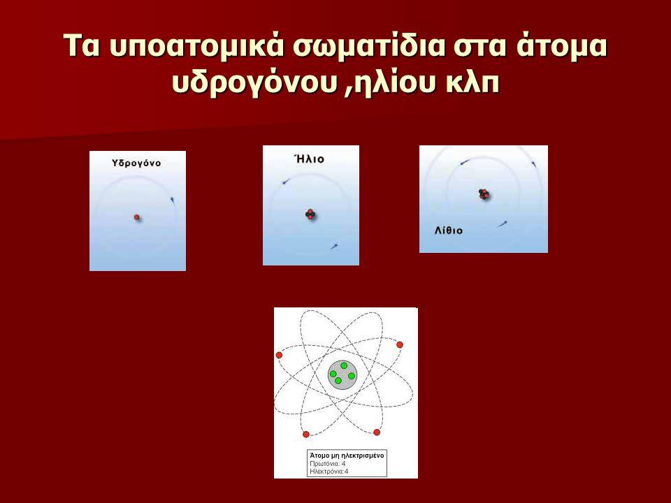 Τα υποατομικά σωματίδια στα άτομα υδρογόνου,ηλίου κλπ