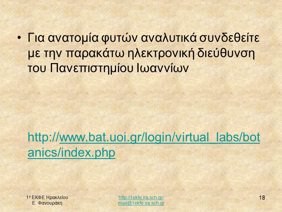 1 ο ΕΚΦΕ Ηρακλείου Ε. Φανουράκη http://1ekfe.ira.sch.gr/ mail@1ekfe.ira.sch.gr 18 Για ανατομία φυτών αναλυτικά συνδεθείτε με την παρακάτω ηλεκτρονική