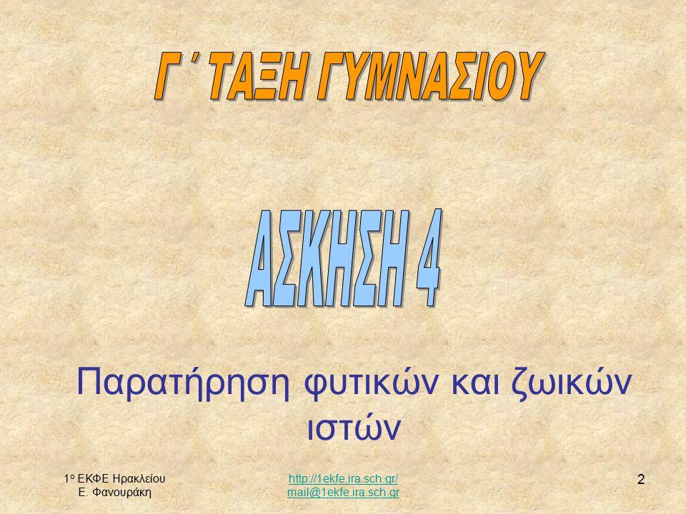1 ο ΕΚΦΕ Ηρακλείου Ε. Φανουράκη http://1ekfe.ira.sch.gr/ mail@1ekfe.ira.sch.gr 2 Παρατήρηση φυτικών και ζωικών ιστών