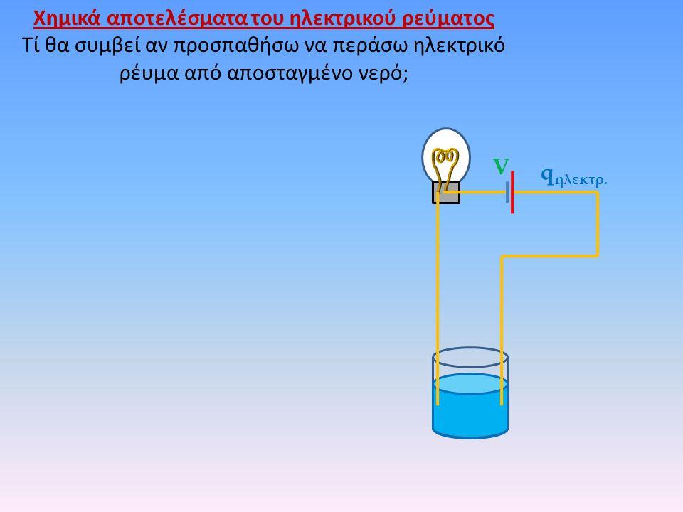 Χημικά αποτελέσματα του ηλεκτρικού ρεύματος Τί θα συμβεί αν προσπαθήσω να περάσω ηλεκτρικό ρέυμα από αποσταγμένο νερό; V q ηλεκτρ.