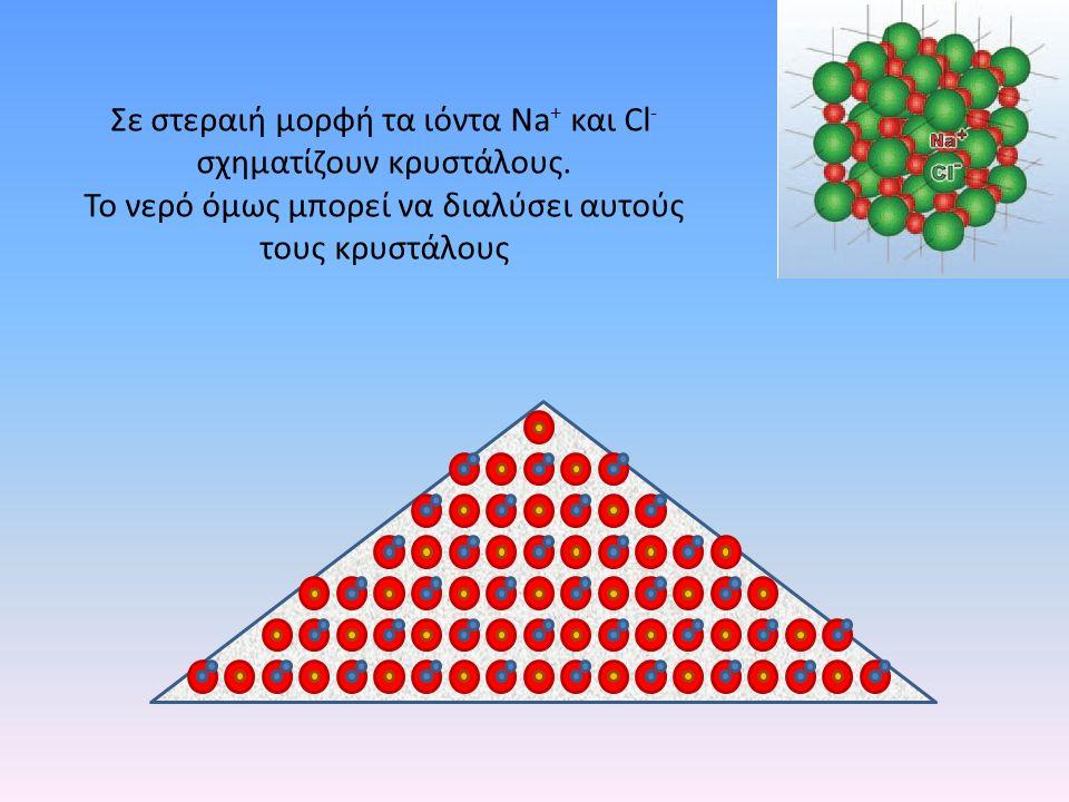 Σε στεραιή μορφή τα ιόντα Νa + και Cl - σχηματίζουν κρυστάλους. Το νερό όμως μπορεί να διαλύσει αυτούς τους κρυστάλους
