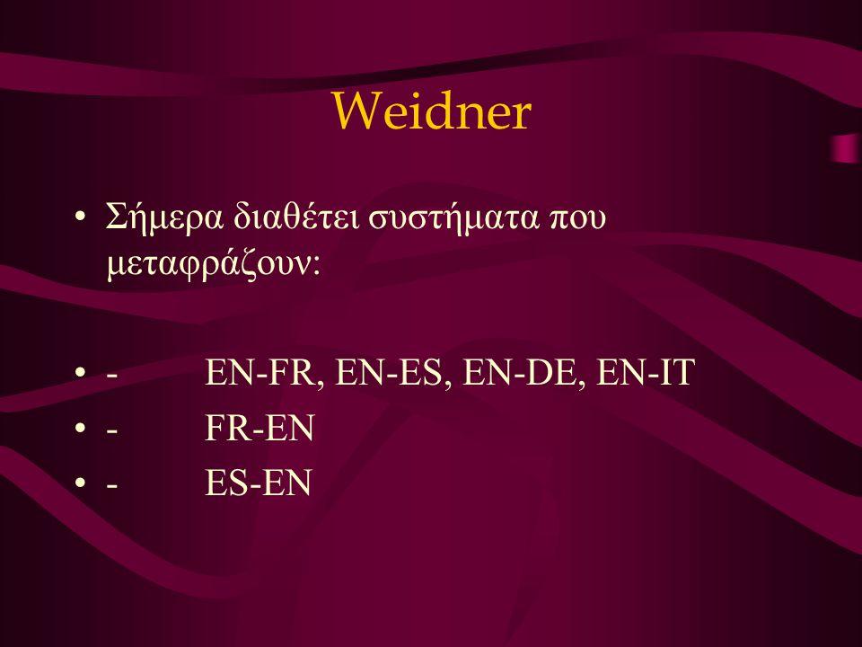 Weidner Σήμερα διαθέτει συστήματα που μεταφράζουν: - EN-FR, EN-ES, EN-DE, EN-IT - FR-EN - ES-EN