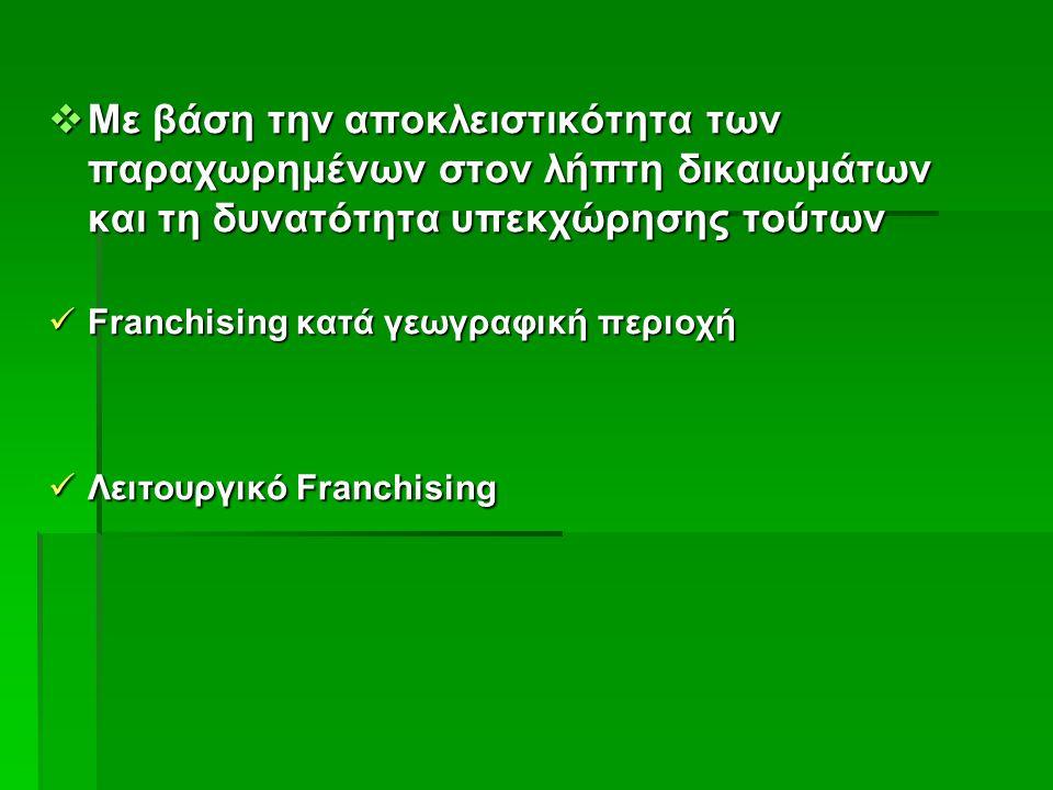  Με βάση την αποκλειστικότητα των παραχωρημένων στον λήπτη δικαιωμάτων και τη δυνατότητα υπεκχώρησης τούτων Franchising κατά γεωγραφική περιοχή Franchising κατά γεωγραφική περιοχή Λειτουργικό Franchising Λειτουργικό Franchising