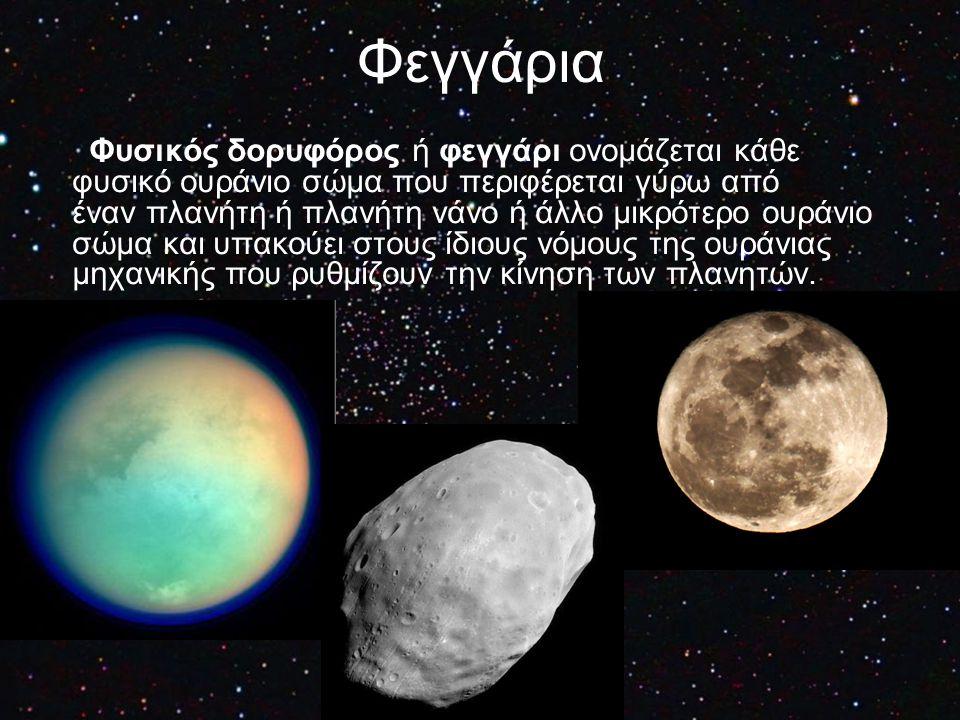 Φεγγάρια Φυσικός δορυφόρος ή φεγγάρι ονομάζεται κάθε φυσικό ουράνιο σώμα που περιφέρεται γύρω από έναν πλανήτη ή πλανήτη νάνο ή άλλο μικρότερο ουράνιο
