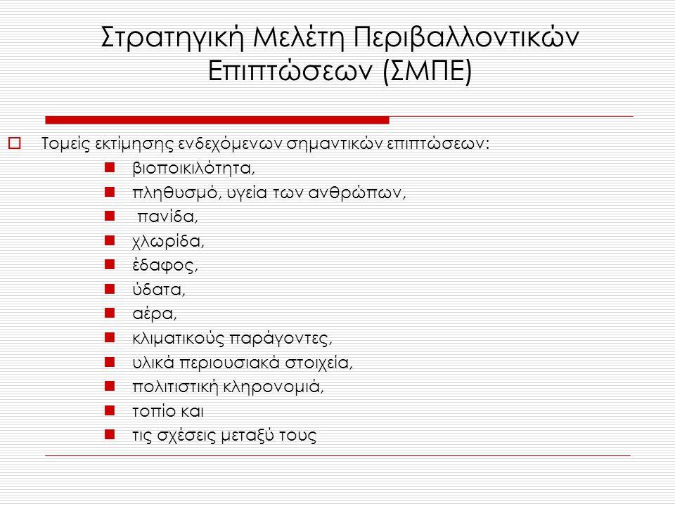  Τομείς εκτίμησης ενδεχόμενων σημαντικών επιπτώσεων: βιοποικιλότητα, πληθυσμό, υγεία των ανθρώπων, πανίδα, χλωρίδα, έδαφος, ύδατα, αέρα, κλιματικούς