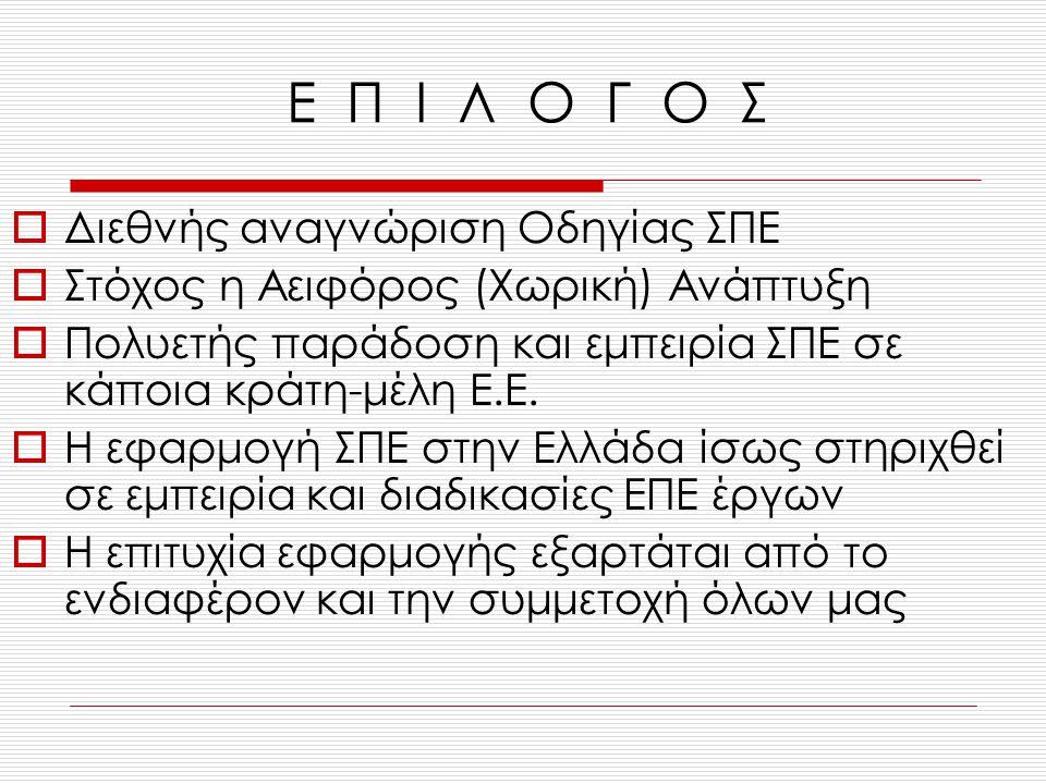 Ε Π Ι Λ Ο Γ Ο Σ  Διεθνής αναγνώριση Οδηγίας ΣΠΕ  Στόχος η Αειφόρος (Χωρική) Ανάπτυξη  Πολυετής παράδοση και εμπειρία ΣΠΕ σε κάποια κράτη-μέλη Ε.Ε.