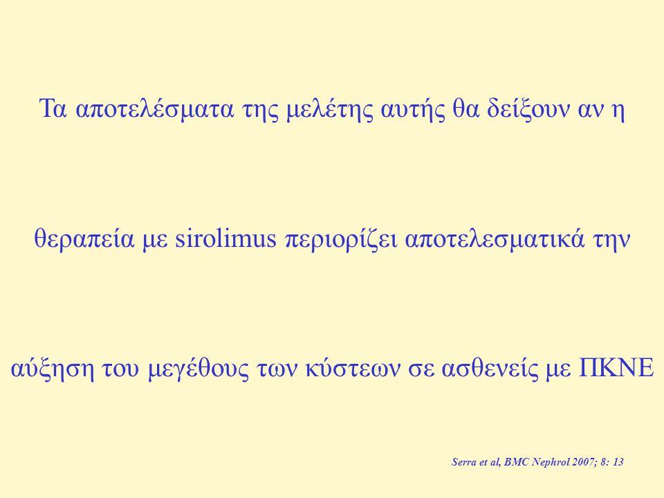 Inclusion criteria Age 18 to 40 years GFR ≥ 70 ml/min (Cockcroft - Gault formula) Diagnosis of ADPKD: ○ Positive family history for ADPKD ■ patients < 30 years: ≥ 2 cysts in either kidney ■ patients ≥ 30 years: ≥ 2 cysts in each kidney ○ Negative family history for ADPKD but sonographically cystic kidney disease: proof of a mutation in the PKD1 or PKD2 gene is required (Athena Diagnostics, Inc., Worcester, MA, USA) Documented kidney volume enlargement (MRI volumetry) Signed informed consent n=100 ασθενείς Serra et al, BMC Nephrol 2007; 8: 13 Τα αποτελέσματα της μελέτης αυτής θα δείξουν αν η θεραπεία με sirolimus περιορίζει αποτελεσματικά την αύξηση του μεγέθους των κύστεων σε ασθενείς με ΠΚΝΕ