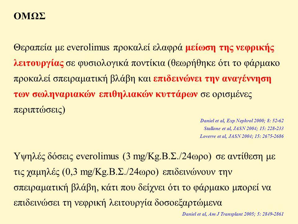 ΟΜΩΣ Θεραπεία με everolimus προκαλεί ελαφρά μείωση της νεφρικής λειτουργίας σε φυσιολογικά ποντίκια (θεωρήθηκε ότι το φάρμακο προκαλεί σπειραματική βλάβη και επιδεινώνει την αναγέννηση των σωληναριακών επιθηλιακών κυττάρων σε ορισμένες περιπτώσεις) Daniel et al, Exp Nephrol 2000; 8: 52-62 Stallone et al, JASN 2004; 15: 228-233 Loverre et al, JASN 2004; 15: 2675-2686 Υψηλές δόσεις everolimus (3 mg/Kg.Β.Σ./24ωρο) σε αντίθεση με τις χαμηλές (0,3 mg/Kg.Β.Σ./24ωρο) επιδεινώνουν την σπειραματική βλάβη, κάτι που δείχνει ότι το φάρμακο μπορεί να επιδεινώσει τη νεφρική λειτουργία δοσοεξαρτώμενα Daniel et al, Am J Transplant 2005; 5: 2849-2861