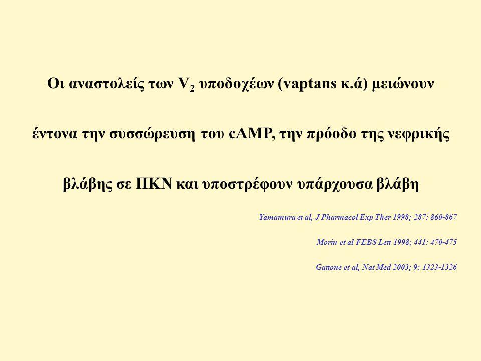 Οι αναστολείς των V 2 υποδοχέων (vaptans κ.ά) μειώνουν έντονα την συσσώρευση του cAMP, την πρόοδο της νεφρικής βλάβης σε ΠΚΝ και υποστρέφουν υπάρχουσα βλάβη Yamamura et al, J Pharmacol Exp Ther 1998; 287: 860-867 Morin et al FEBS Lett 1998; 441: 470-475 Gattone et al, Nat Med 2003; 9: 1323-1326