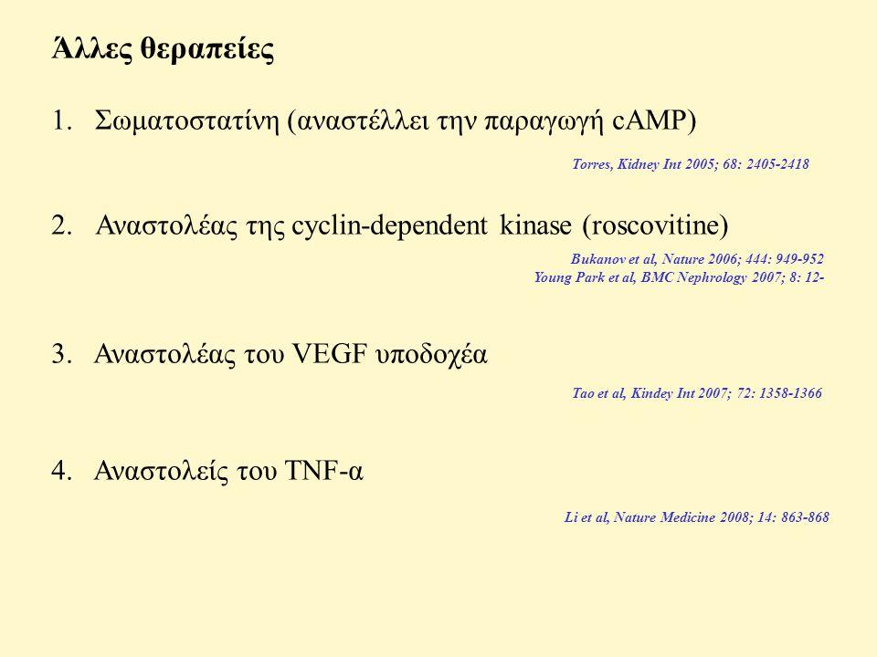 Άλλες θεραπείες 1.Σωματοστατίνη (αναστέλλει την παραγωγή cAMP) 2.Αναστολέας της cyclin-dependent kinase (roscovitine) 3.