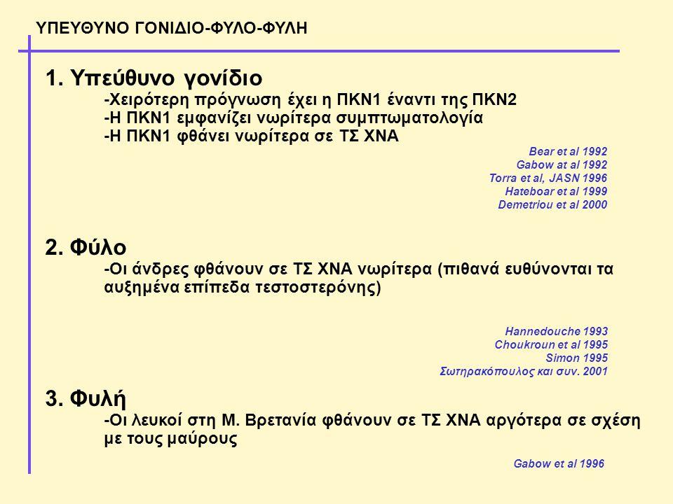 ΥΠΕΥΘΥΝΟ ΓΟΝΙΔΙΟ-ΦΥΛΟ-ΦΥΛΗ 1.Υπεύθυνο γονίδιο -Χειρότερη πρόγνωση έχει η ΠΚΝ1 έναντι της ΠΚΝ2 -Η ΠΚΝ1 εμφανίζει νωρίτερα συμπτωματολογία -Η ΠΚΝ1 φθάνει νωρίτερα σε ΤΣ ΧΝΑ 2.