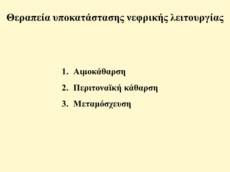 Θεραπεία υποκατάστασης νεφρικής λειτουργίας 1.Αιμοκάθαρση 2.Περιτοναϊκή κάθαρση 3.Μεταμόσχευση