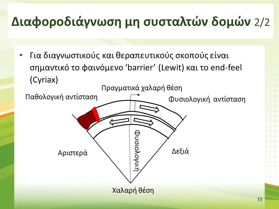 Διαφοροδιάγνωση μη συσταλτών δομών 2/2 Για διαγνωστικούς και θεραπευτικούς σκοπούς είναι σημαντικό το φαινόμενο 'barrier' (Lewit) και το end-feel (Cyr