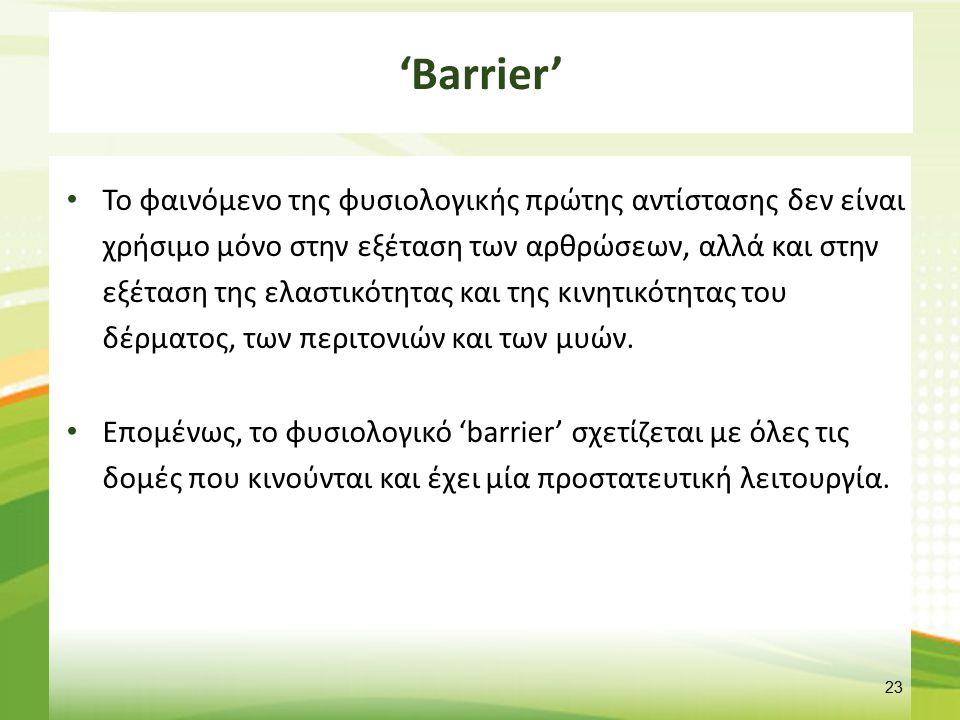 'Barrier' Το φαινόμενο της φυσιολογικής πρώτης αντίστασης δεν είναι χρήσιμο μόνο στην εξέταση των αρθρώσεων, αλλά και στην εξέταση της ελαστικότητας κ