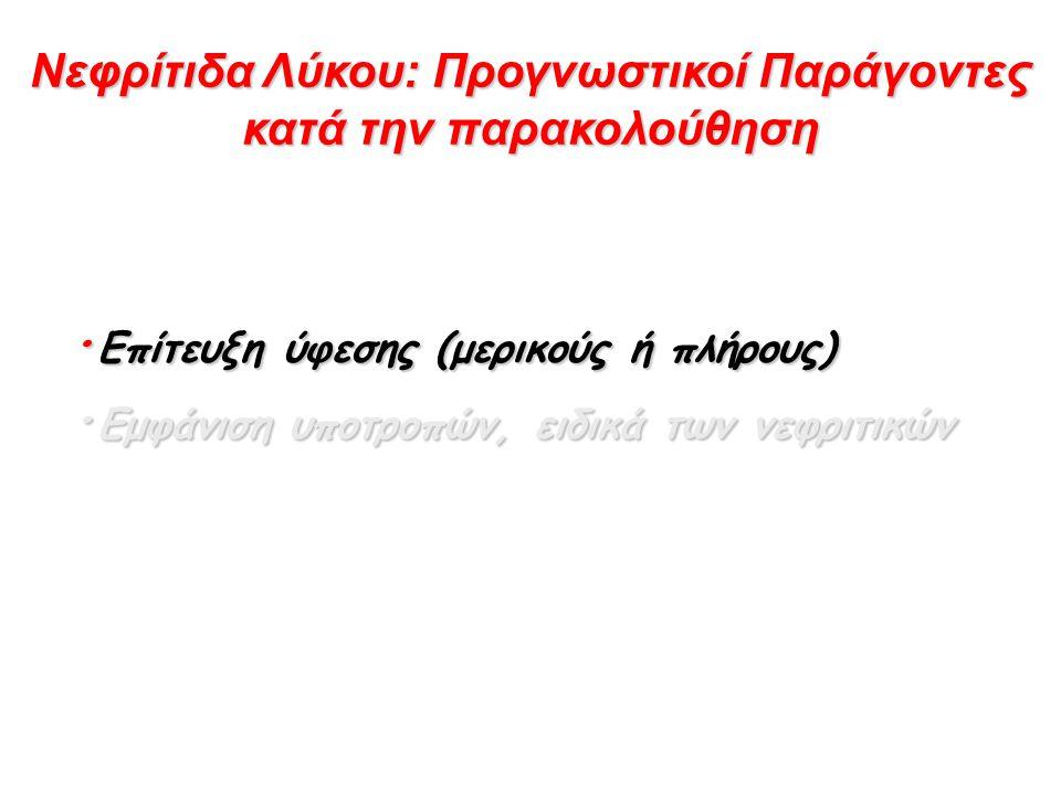 Νεφρίτιδα Λύκου: Προγνωστικοί Παράγοντες κατά την παρακολούθηση · Επίτευξη ύφεσης (μερικούς ή πλήρους) · Εμφάνιση υποτροπών, ειδικά των νεφριτικών