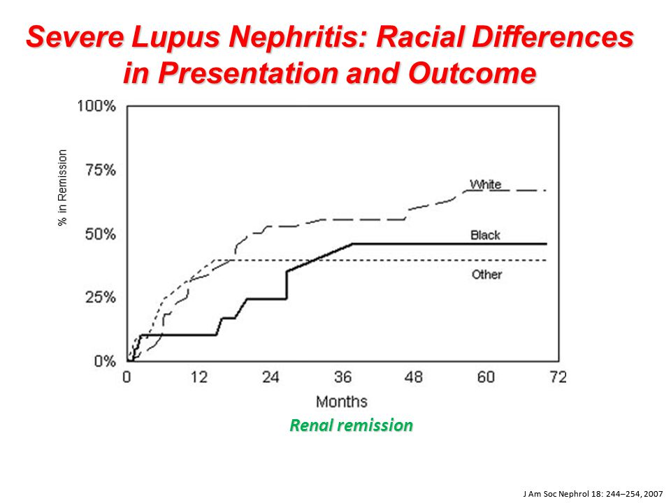 Severe Lupus Nephritis: Racial Differences in Presentation and Outcome Renal remission J Am Soc Nephrol 18: 244–254, 2007