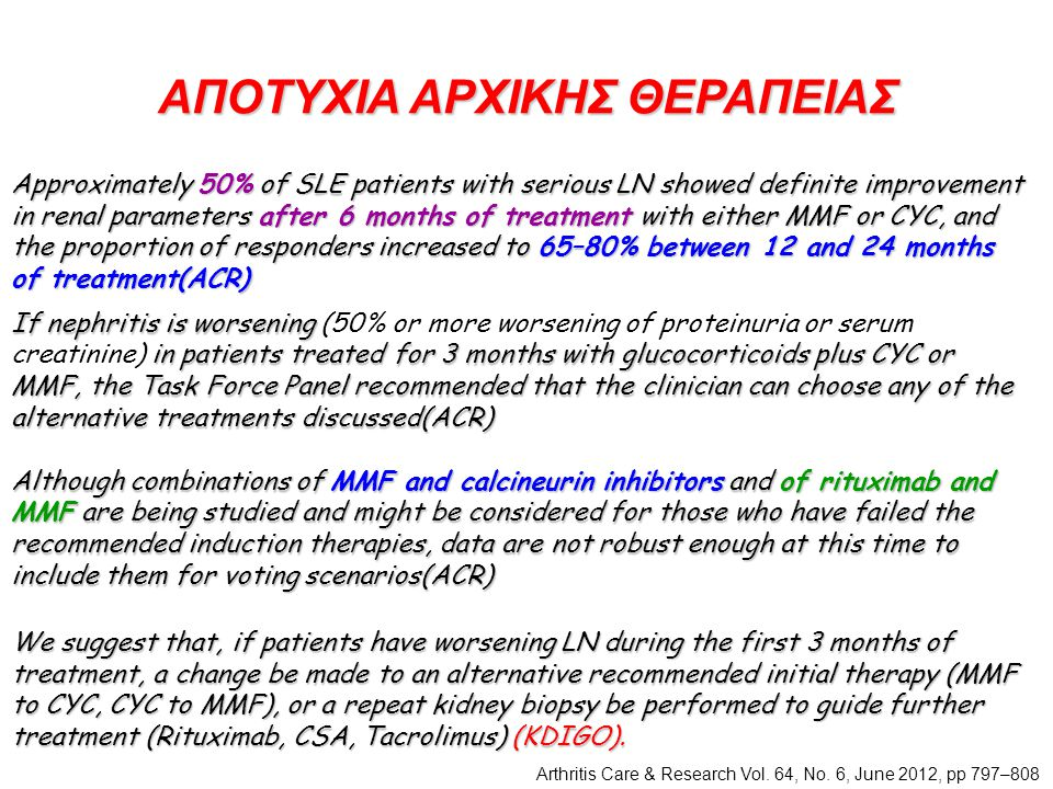 ΑΠΟΤΥΧΙΑ ΑΡΧΙΚΗΣ ΘΕΡΑΠΕΙΑΣ If nephritis is worsening in patients treated for 3 months with glucocorticoids plus CYC or MMF, the Task Force Panel recommended that the clinician can choose any of the alternative treatments discussed(ACR) If nephritis is worsening (50% or more worsening of proteinuria or serum creatinine) in patients treated for 3 months with glucocorticoids plus CYC or MMF, the Task Force Panel recommended that the clinician can choose any of the alternative treatments discussed(ACR) Although combinations of MMF and calcineurin inhibitors and of rituximab and MMF are being studied and might be considered for those who have failed the recommended induction therapies, data are not robust enough at this time to include them for voting scenarios(ACR) Arthritis Care & Research Vol.