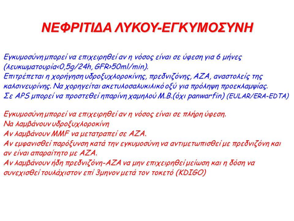 ΝΕΦΡΙΤΙΔΑ ΛΥΚΟΥ-ΕΓΚΥΜΟΣΥΝΗ Εγκυμοσύνη μπορεί να επιχειρηθεί αν η νόσος είναι σε ύφεση για 6 μήνες (λευκωματουρία 50ml/min). Eπιτρέπεται η χορήγηση υδρ