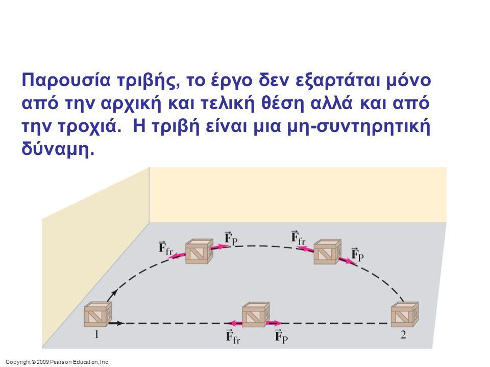 Copyright © 2009 Pearson Education, Inc. Παρουσία τριβής, το έργο δεν εξαρτάται μόνο από την αρχική και τελική θέση αλλά και από την τροχιά. Η τριβή ε