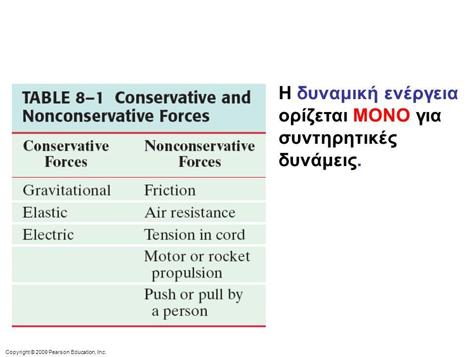Copyright © 2009 Pearson Education, Inc. Η δυναμική ενέργεια ορίζεται ΜΟΝΟ για συντηρητικές δυνάμεις.