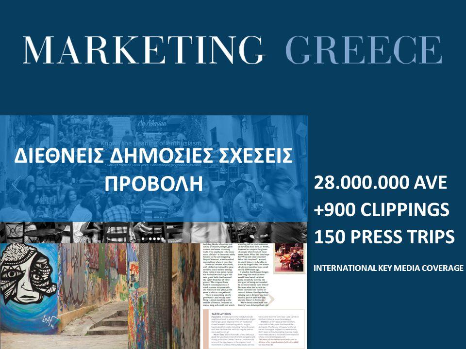 28.000.000 AVE +900 CLIPPINGS 150 PRESS TRIPS INTERNATIONAL KEY MEDIA COVERAGE ΔΙΕΘΝΕΙΣ ΔΗΜΟΣΙΕΣ ΣΧΕΣΕΙΣ ΠΡΟΒΟΛΗ