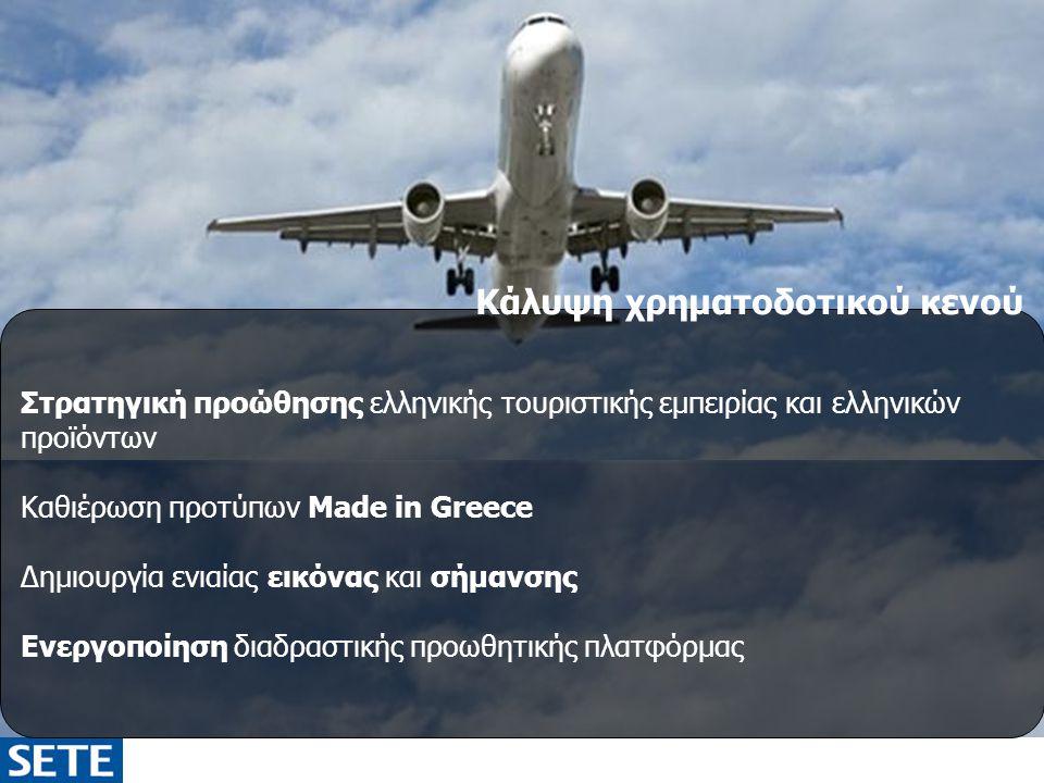 Κάλυψη χρηματοδοτικού κενού Στρατηγική προώθησης ελληνικής τουριστικής εμπειρίας και ελληνικών προϊόντων Καθιέρωση προτύπων Made in Greece Δημιουργία ενιαίας εικόνας και σήμανσης Ενεργοποίηση διαδραστικής προωθητικής πλατφόρμας