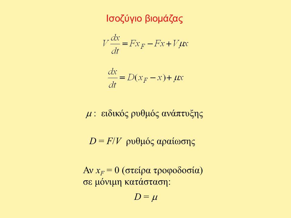 Ν χημοστάτες Ισοζύγια σε μόνιμη κατάσταση ΒιομάζαΥπόστρωμα i = 1,…,N Ανκαι Με ανακύκλωση: