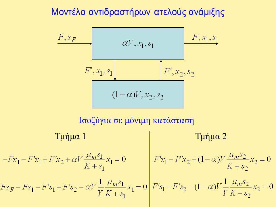 Μοντέλα αντιδραστήρων ατελούς ανάμιξης Ισοζύγια σε μόνιμη κατάσταση Τμήμα 1Τμήμα 2
