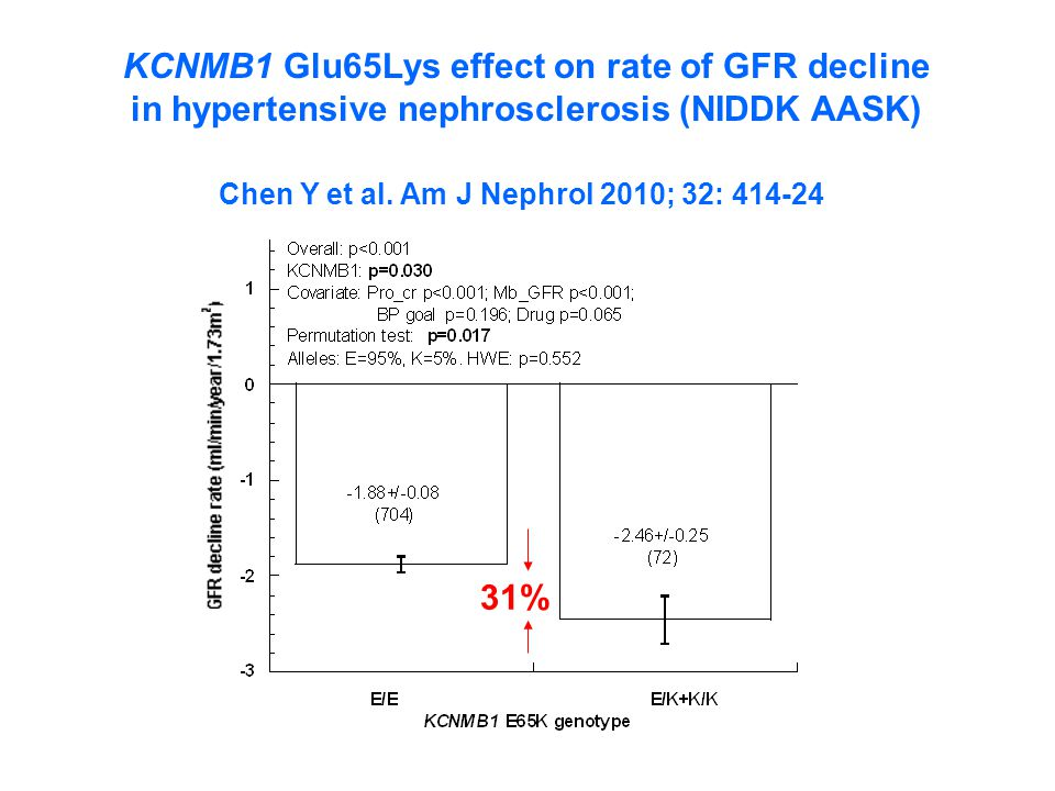 KCNMB1 Glu65Lys effect on rate of GFR decline in hypertensive nephrosclerosis (NIDDK AASK) Chen Y et al.