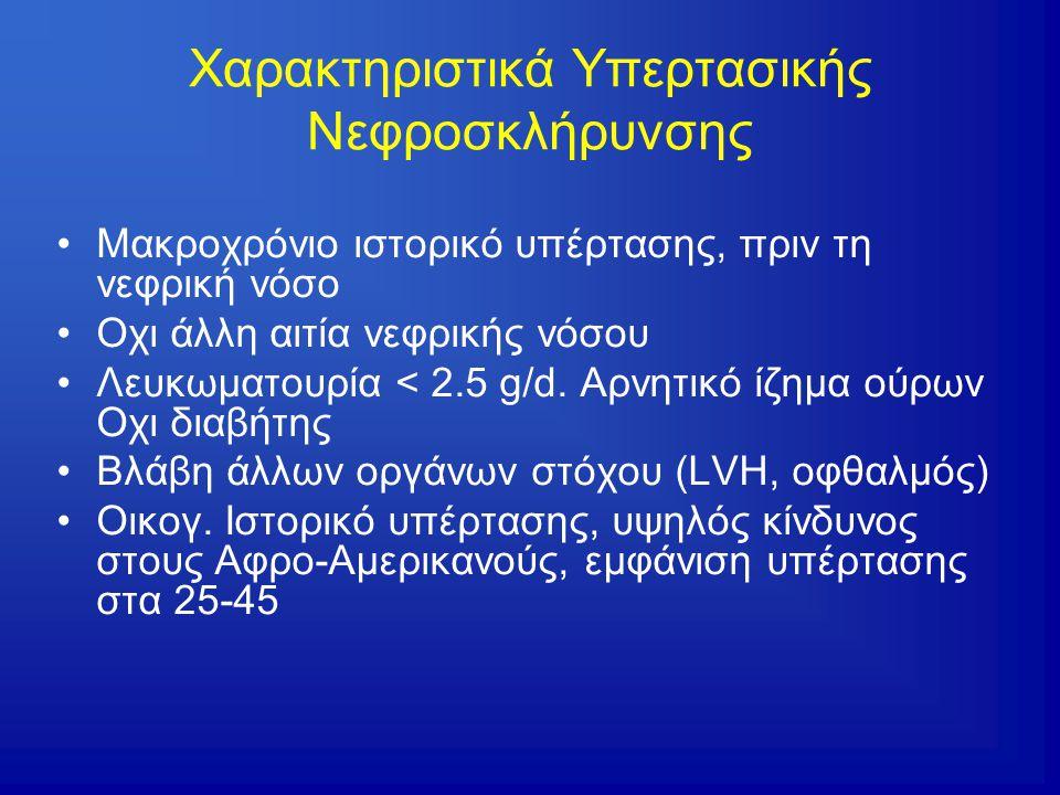Χαρακτηριστικά Υπερτασικής Νεφροσκλήρυνσης Μακροχρόνιο ιστορικό υπέρτασης, πριν τη νεφρική νόσο Οχι άλλη αιτία νεφρικής νόσου Λευκωματουρία < 2.5 g/d.