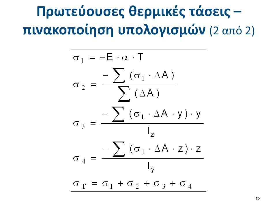 Πρωτεύουσες θερμικές τάσεις – πινακοποίηση υπολογισμών (2 από 2) 12