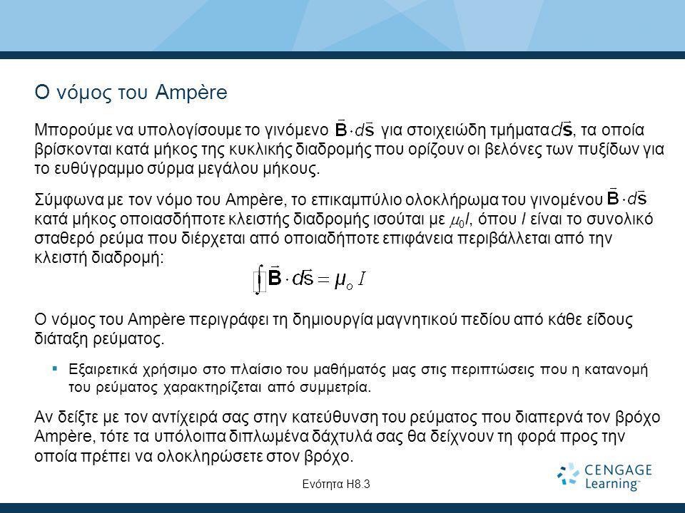 Ο νόμος του Ampère Μπορούμε να υπολογίσουμε το γινόμενο για στοιχειώδη τμήματα, τα οποία βρίσκονται κατά μήκος της κυκλικής διαδρομής που ορίζουν οι β